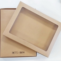 Kraft Box with clear window lid